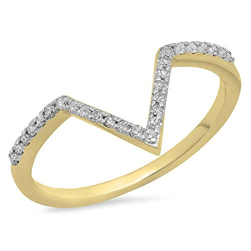 Dazzlingrock Collection 0.15 Carat (ctw) 14K Round White Diamond Wedding Stackable Band Chevron Ring, Yellow Gold, Size 8 ()