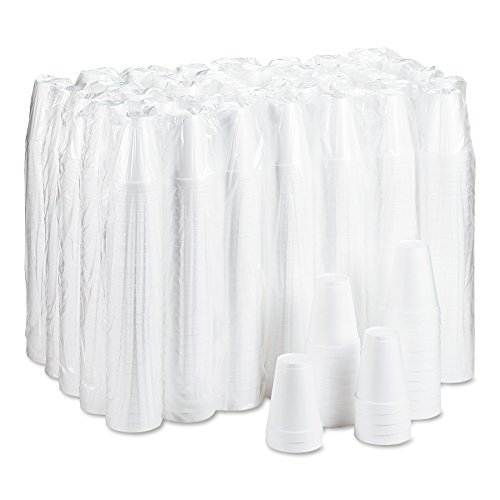 """Dart 12J12 12 oz Capacity, 3.5"""" Top and 2.1"""" Bottom Diameter, 4.4"""" Height, White Insulated Foam Cup (40 Packs of 25)"""