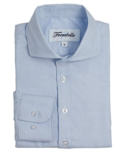 (Boys Long Sleeve Dress Shirt - Oxford Soft Cotton with Spread Collar (8, Blue))