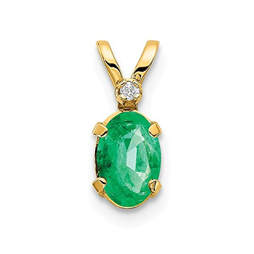 - 14k Yellow Gold Diamond Green Emerald Birthstone Pendant Charm Necklace May Oval Fine Jewelry Gifts For Women For Her