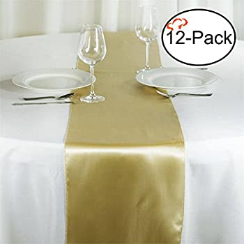 Tiger Chef 12 Pack Champagne 12 X 108 Inches Long Satin Table Runner For  Wedding