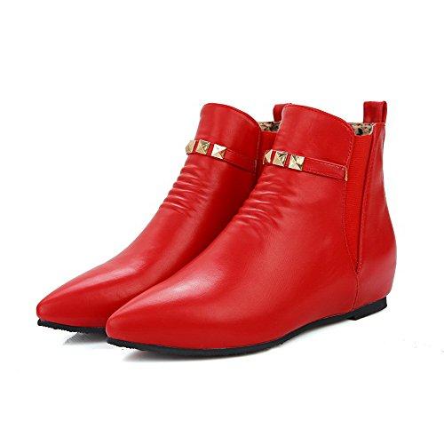 VogueZone009 Damen Ziehen auf Spitz Zehe Niedriger Absatz Eder Rein Stiefel Rot