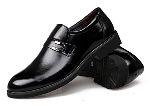 WZG Los nuevos hombres de los zapatos del negocio del cuero primera capa de zapatos de vestir de los hombres de cuero, zapatos casuales negro Black