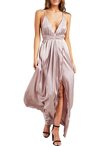 Yimeili Women's Sexy Deep V Neck Backless Split Maxi Cocktail Long Party Dresses (M, Pink)