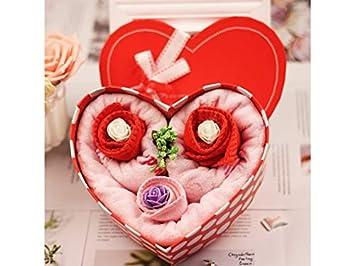 yter toalla de tarta con forma de corazón Cake Towel Box toallitas de baño Soft Hand Face toalla Baby Shower Christmas gift-pink: Amazon.es: Hogar