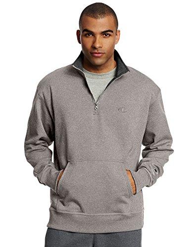 - Champion Men's Powerblend Quarter-Zip Fleece Jacket, Oxford Gray, Medium