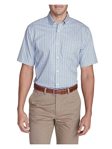 Eddie Bauer Men's Wrinkle-Free Relaxed Fit Short-Sleeve Pinpoint Oxford Shirt - Atlantic (Grey) ()