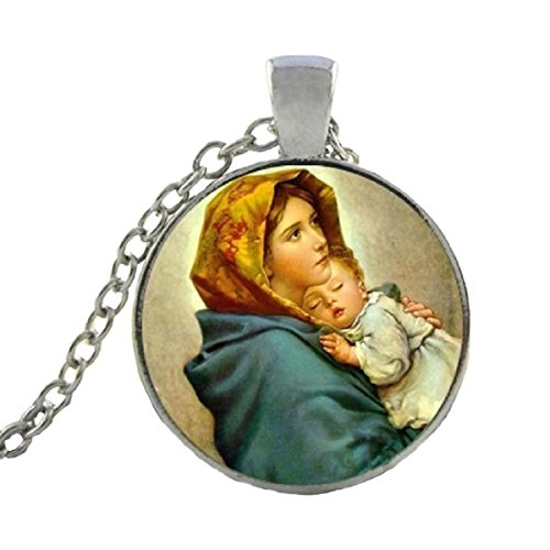 Blazing Autumn Mary Mother of Baby Jesus Necklace Blessed Virgin Pendant Fashion Jewelry Glass Dome Necklace (Sweet Baby Jesus Silver -
