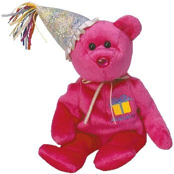 TY Beanie Baby - JANUARY the Teddy Birthday Bear (w/ hat)
