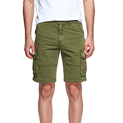 Farmerl Men's Shorts Multi Pocket Loose Fit Cotton Premium Twill Cargo Shorts Army Green