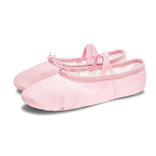 Ballerine Da Ragazza L-run Scarpe Da Yoga Classiche In Tela Con Suola Divisa In Due Parti Rosa