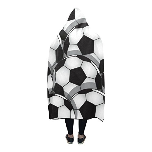 Free Shipping InterestPrint Fleece Hooded Blanket Black Soccer Classy Soccer Blankets And Throws