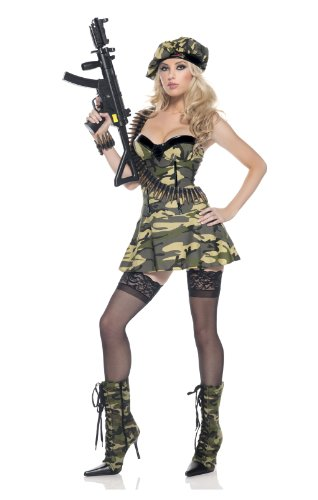 Be Wicked Costumes Women's Private Ambush Soldier Costume, Green/Tan, Small/Medium (Sexy Soldier Costumes)