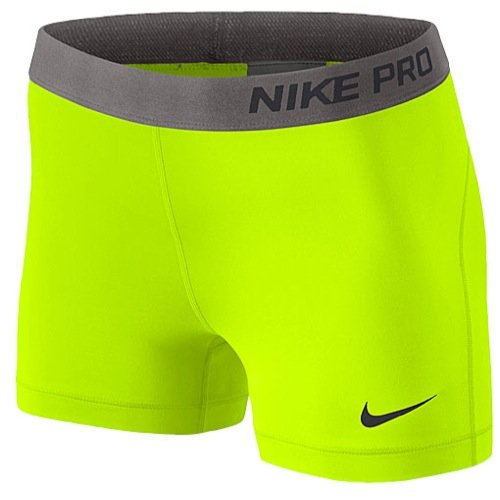 Nike Pro Core Womens 3 Compression Shorts Volt (Large)