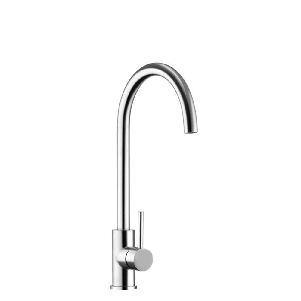Water Tap304 Stainless Steel Modern Kitchen Single Lever 360° redating Hot and Cold Sink Sink Mixing Valve Faucet