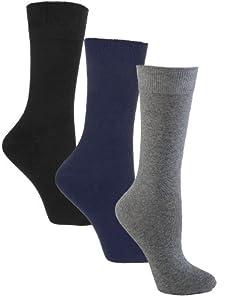 Sugar Free Sox Ladies Assorted 3 Pack Health Socks | Diabetic Socks, Sock Size 9-11