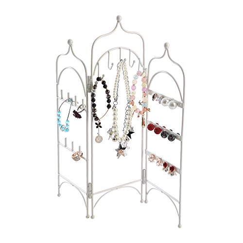 White Metal 3 Panel Trellis Folding Jewelry Hanger Organizer for Bracelet, Earrings, Necklace