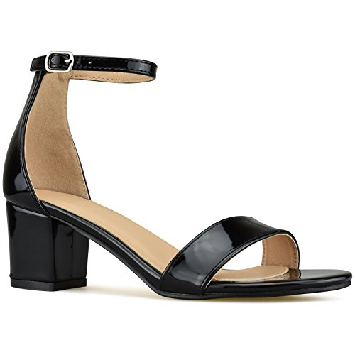Bella Marie Women's Strappy Open Toe Block Heel Sandal, Black Patent, Size 9