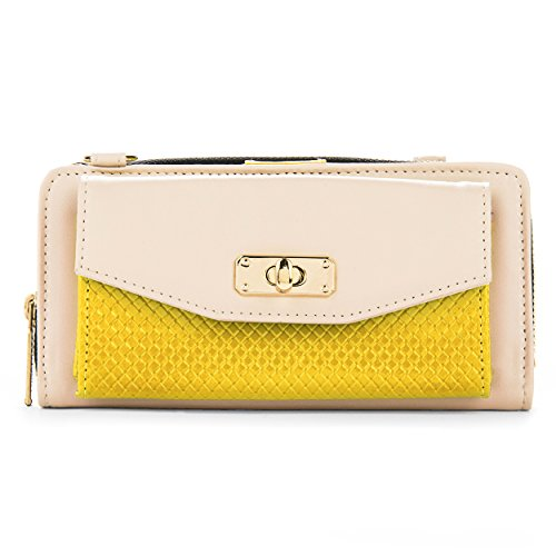 Cream and Yellow Womens Venice Wallet Case for HTC Desire 820 816 616 516 310 210 (Htc Desire 610 Phone Unlocked)