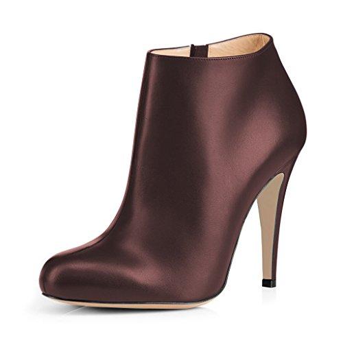 Fsj Damesmode Amandel Teen Stiletto Hakken Enkellaarsjes Comfortabele Schoenen Met Zijrits Maat 4-15 Us Bruin