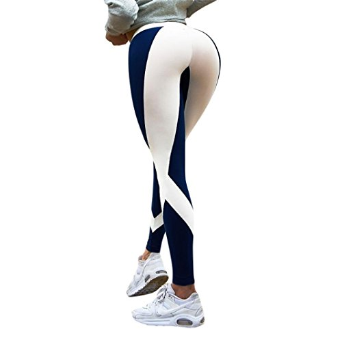 (Neartime Promotion! Women Leggings, 2018 New Striped Skinny Yoga Pants Fitness Sports Gym Mid Waist Athletic Pants (S, Blue))