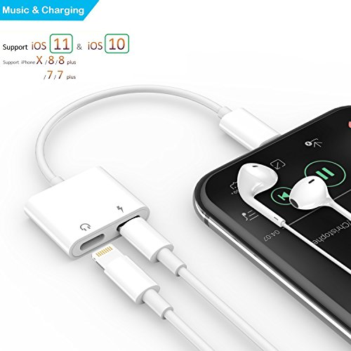 Dual Lightning Adapter for iPhone 7/7 Plus, iPhone 8/8 Plus, iPhone X, Coursin Adapter Splitter Cable Audio & Charge Port Converter Support for Music, Charging and Calling Support for iOS 11 (White)