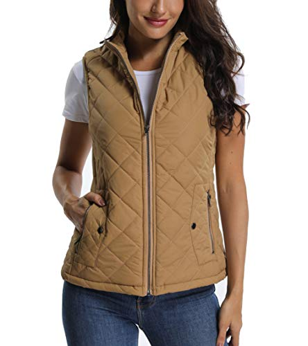 Quilted Lightweight Vest for Women Zip up Stand Collar Padded Gilet Sleeveless Jackets with Zipper Pockets - Fur Collar Pockets