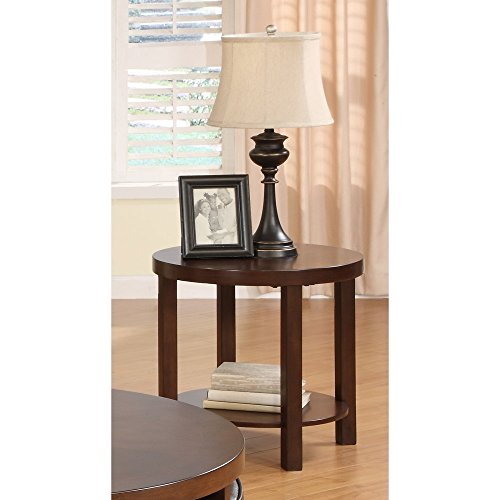 Weston Home Brussel II Round Brown Wood End Table (Homelegance Contemporary End Table)
