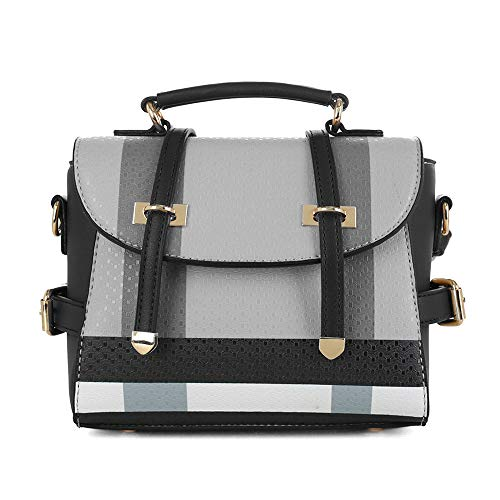 - SG SUGU Small Plaid Lightweight Crossbody Bag Fashion Backpack Top Handle Purse | Black and White