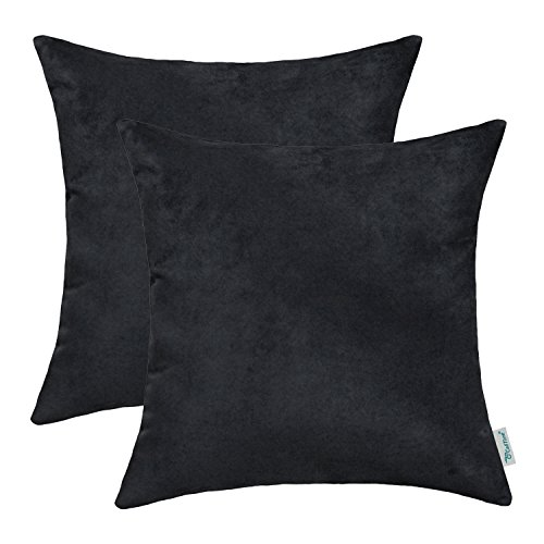 CaliTime Pack of 2 Cozy Throw Pillow Covers Cases for Couch Bed Sofa Super Soft Faux Suede Solid Color Both Sides 18 X 18 Inches Black