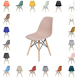 OCHS Retro Eiffel Dining Chair Plastic Seat with Wood Legs for Office Lounge Dining Kitchen Bedroom (Pastel Pink…