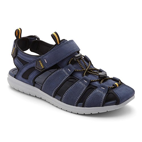 Canvas Fisherman Sandals - Vionic Moore Nate - Men's Supportive Active Sandal Navy - 10 Medium