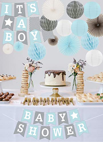 RainMeadow Premium Baby Shower Decorations for Boys Kit | It's A BOY | Garland Bunting Banner, Paper Lanterns, Honeycomb Balls | Tissue Paper Fans | Blue Grey White | Elephant Style ()