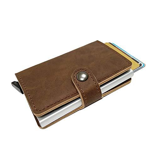 Leather Wallet Minimalist & Slim from GK Galleria with RFID for Men & Women (Dark Brown)
