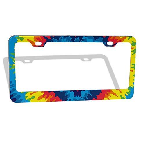CHILL·TEK Tie Dye Heart Pattern Personalized License Plate Frame - UV & Water Resistant Permanent Print Aluminum Custom Metal Frame