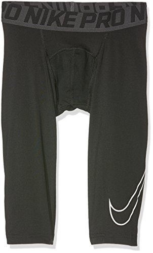 Nike Youth Football Pants (Nike Kids Boy's Cool HBR Compression 3/4 Tight Youth (Little Kids/Big Kids) Black/White Pants SM (7-8 Big Kids))