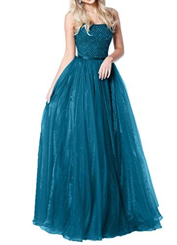 Ballkleider A Perlen Blau Promkleider Abiballkleider Damen Prinzess Charmant Linie Abendkleider Langes Abschlussballkleider Ixp1wTq6F