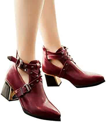 400b1c487d4 Memela Womens Shoe Cut Out Booties Buckle Strap Back Zipper Leather Stitch  Ankle Boots Thick Heel
