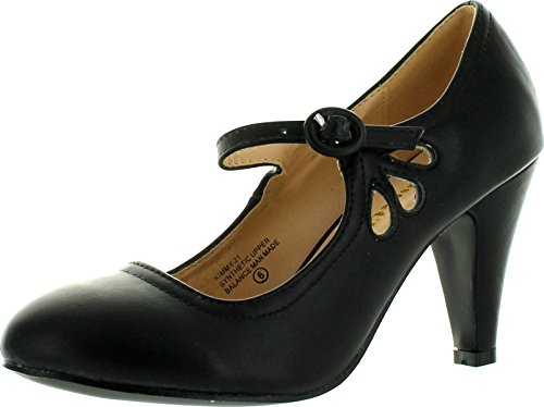 Chase & Chloe Kimmy-21 Women's Round Toe Pierced Mid Heel Mary Jane Style Dress Pumps,Black,7 (Black Womens Jane Mary)