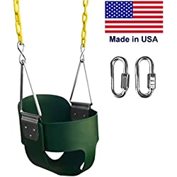 "Safari Swings High Back Full Bucket Swing, MADE IN USA, With 67"" Coated Chain. Made in USA. Includes (2) 3"" Quick Links"