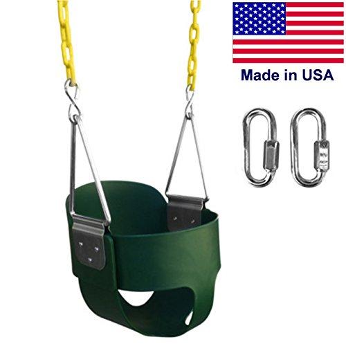 SAFARI SWINGS High Back Full Bucket Kids Swing Seat (USA MADE, Includes 67