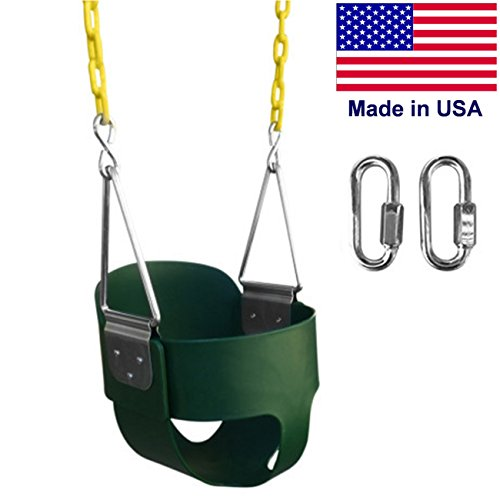 "SAFARI SWINGS High Back Full Bucket Kids Swing Seat (USA MADE, Includes 67"" of Coated Chain, 2 Quick Links) Green Outdoor Baby, Children & Toddler Swing Set Accessories For The Playground, Backyard"