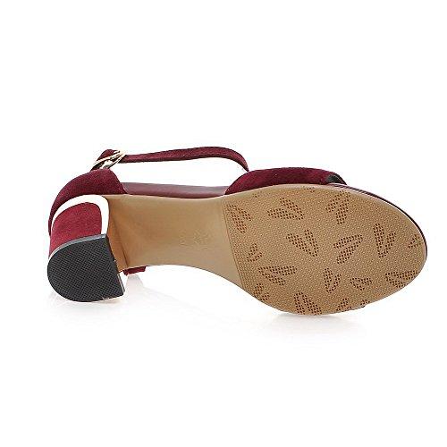 AllhqFashion Women's Solid Frosted Kitten Heels Open-Toe Buckle Sandals Claret ksgtMu