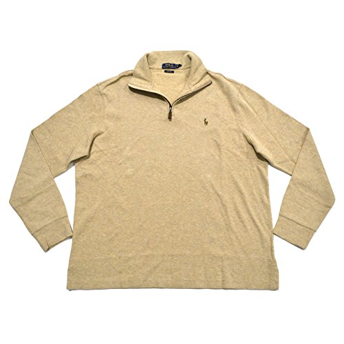 (Polo Ralph Lauren Mens Cotton 1/4 Zip Pullover Sweater Tan XS)