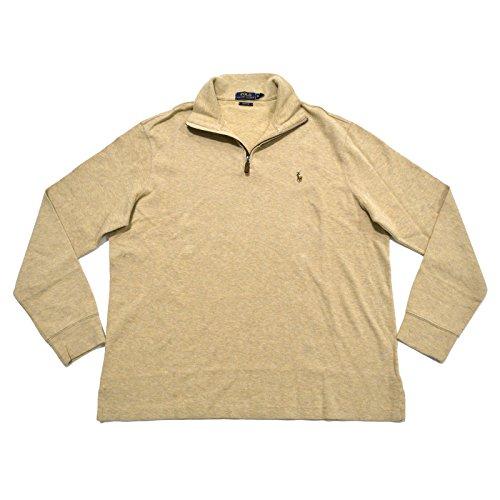 Polo Ralph Lauren Mens Cotton 1/4 Zip Pullover Sweater Tan XL