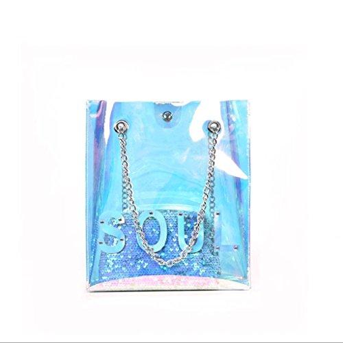 GJ Bolso bandolera - Bolso de hombro femenino mini Bolso de cadena Bolso transparente Bolso de ocio Bolso de señora de moda (Color : Blanco) Blanco