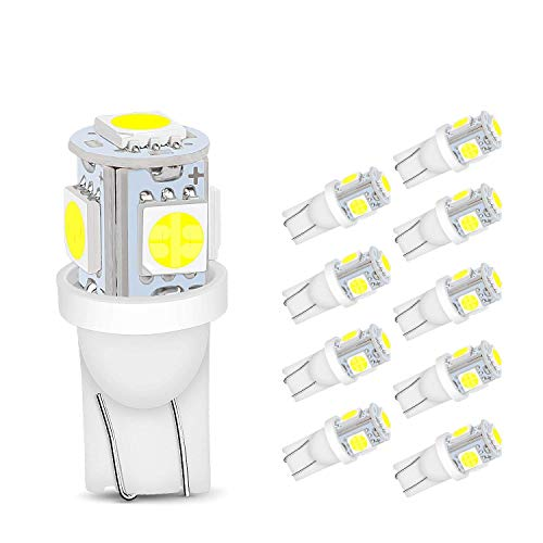 NYKKOLA 20PCS LED Replacements T10 Wedge 5-SMD 5050 Xenon LED Light Bulbs 192 168 194 W5W 2825 158 - Base Cool White 12v Dc 1407ww