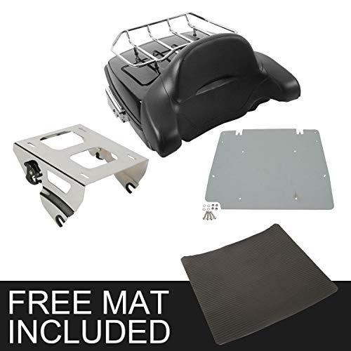 TCMT Chopped Tour Pak Pack Trunk Backrest w/Solo Mount Rack Fits For Harley Touring 2014-2019