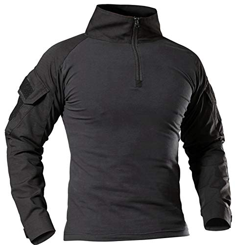 TBMPOY Men's Outdoor Cotton Assault BDU Shirts Hiking Hunting Shirt with Pockets(02 Black, US ()