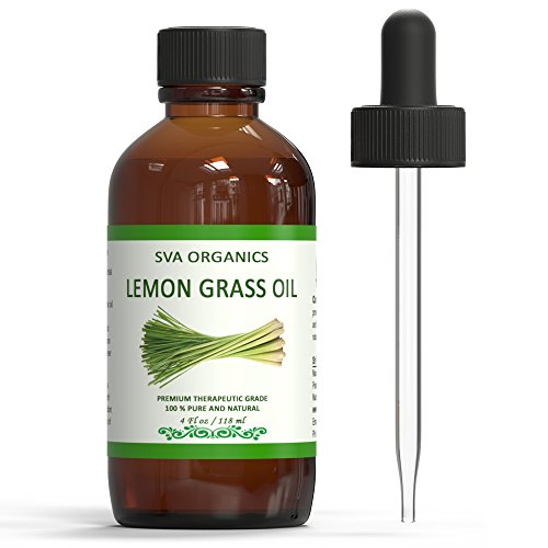 Lemongrass Essential Oil - 4oz (118ml) 100% Pure ,Undiluted and Natural Oil by SVA Organics | Best Therapeutic Grade, Perfect for Aromatherapy ,Relaxation ,Skin ,Hair & (Organic Lemongrass Essential Oil)